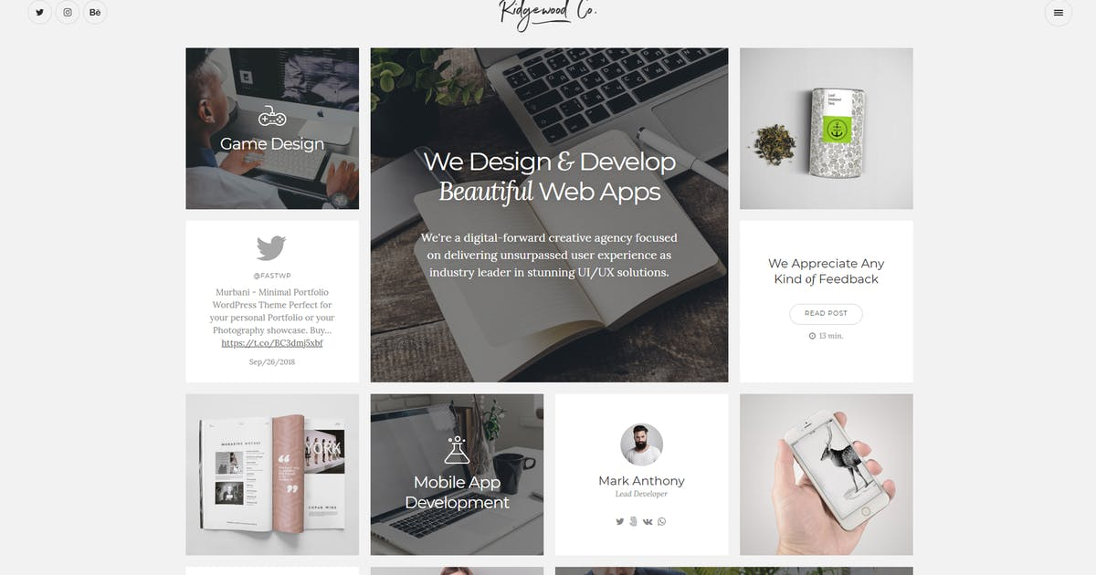 Download Ridgewood - Contemporary Portfolio for Creatives by FastWP