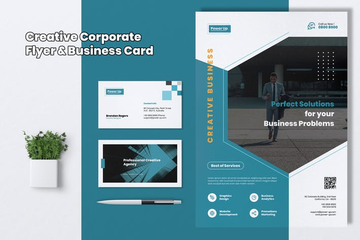 Thumbnail for POWER UP Creative Agency Flyer & Business Card