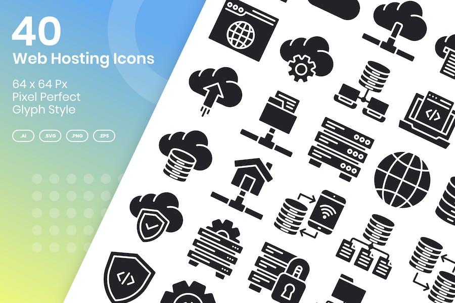 40 Web Hosting Icons Set - Glyph