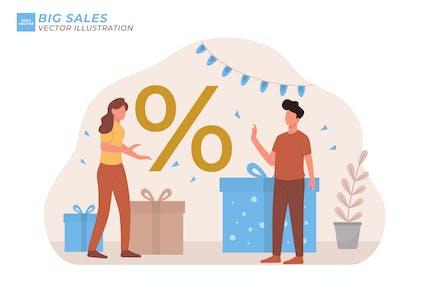 Big Sales Promotion Flat Illustration