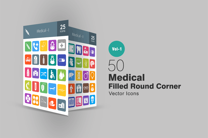 Thumbnail for 50 Medical Filled Round Corner Icons