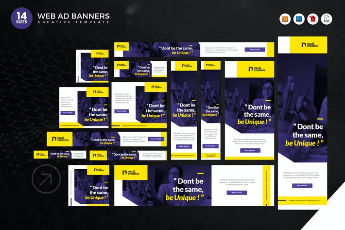 Cover Image For 14 Modern Education Web Ad Banners Set
