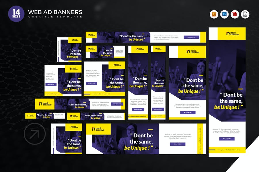 14 Modern Education Web Ad Banners Set