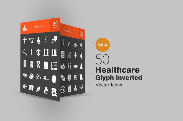 Thumbnail for 50 Healthcare Glyph Inverted Icons