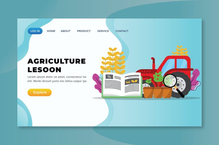 Thumbnail for Agriculture Lesson - XD PSD AI Vector Landing Page