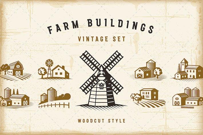 Thumbnail for Vintage Farm Buildings Set
