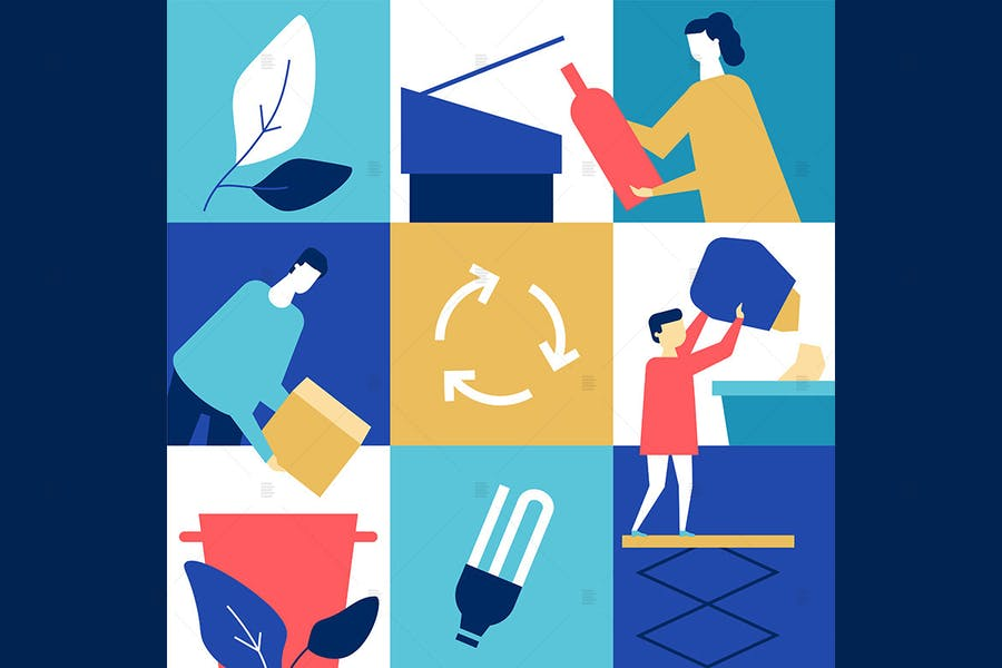 Recycling - flache Design-Stil Illustration