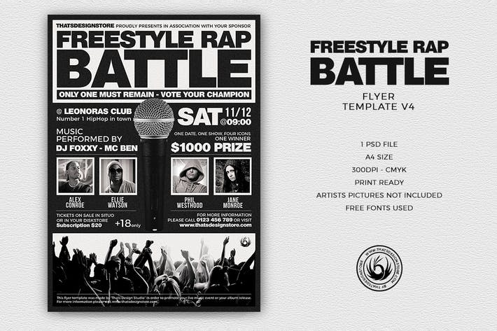 Thumbnail for Freestyle Rap Battle Flyer Template V4