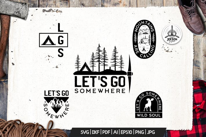 Thumbnail for Mountain Camp Logos, Retro Adventure Badges, Shirt