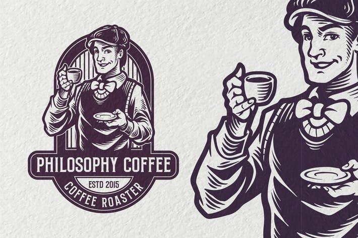 Thumbnail for Philosophy Coffee Vintage Logo template