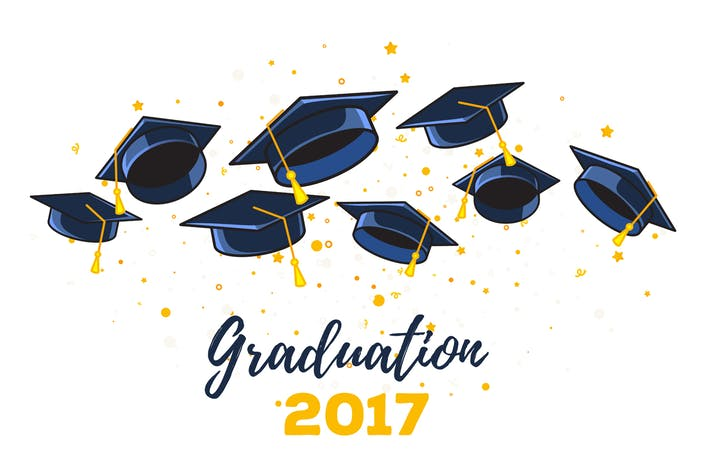 Thumbnail for Vector set of illustrations with graduate caps