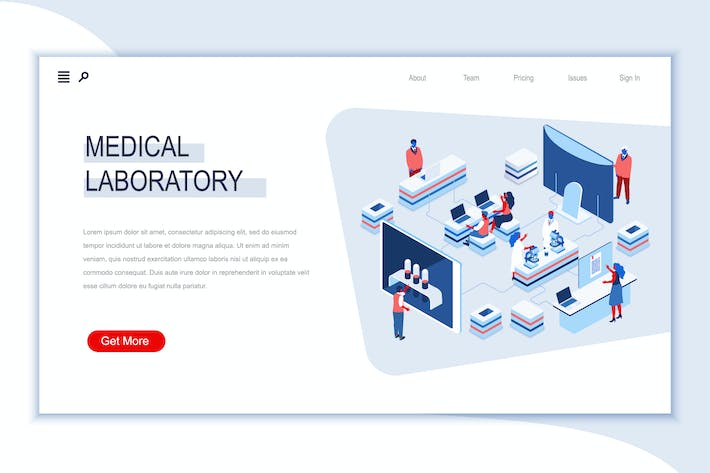 Thumbnail for Medical Laboratory Isometric Banner Flat Concept