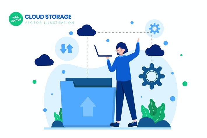 Thumbnail for Cloud Storage Flat Vector Illustration