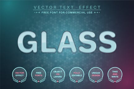 Cloudy glass  - editable text effect, font style