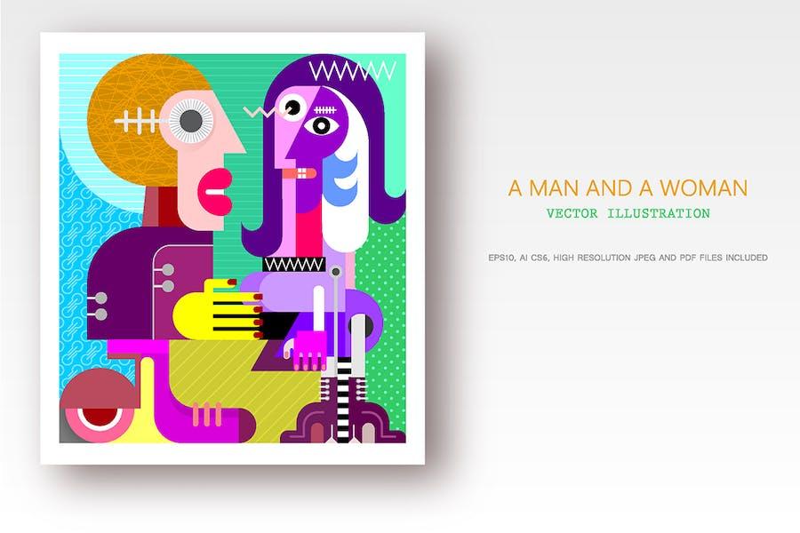 вектор иллюстрация мужчины и женщины