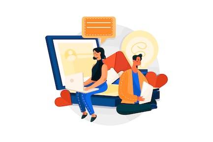 Social Media Strategy Vector Illustration
