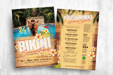 Bikini Party Flyer/Table Tent Template