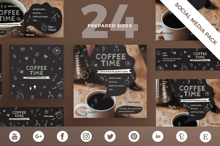 Thumbnail for Coffee Cafe Social Media Pack Template