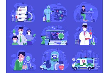 Coronavirus World Epidemic Illustrations Set