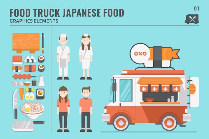 Erstaunliche japanische Lebensmittel LKW Graphic Elements Set