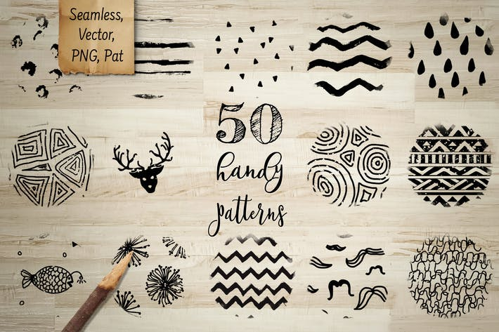 Thumbnail for 50 Handy Patterns. Vector, PNG, PAT