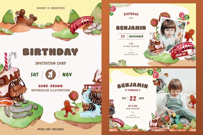 Thumbnail for Schokolade Land Thema Geburtstag Einladungskarte