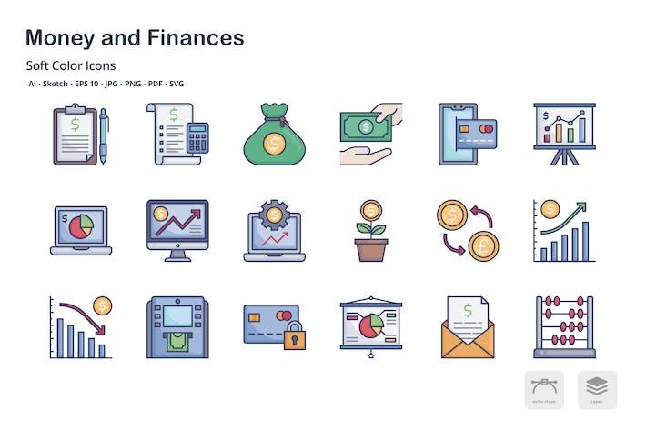 Íconos de colores suaves de dinero y finanzas
