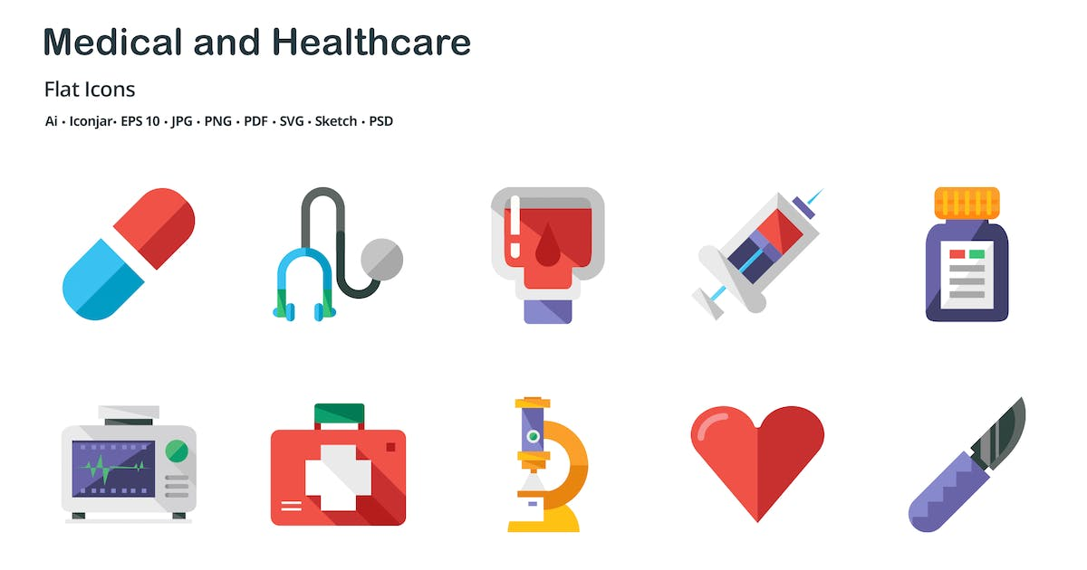 Download Medical and Healthcare Flat Colored Icons by roundicons