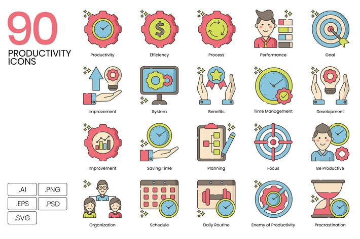 Thumbnail for 90 Productivity Line Icons