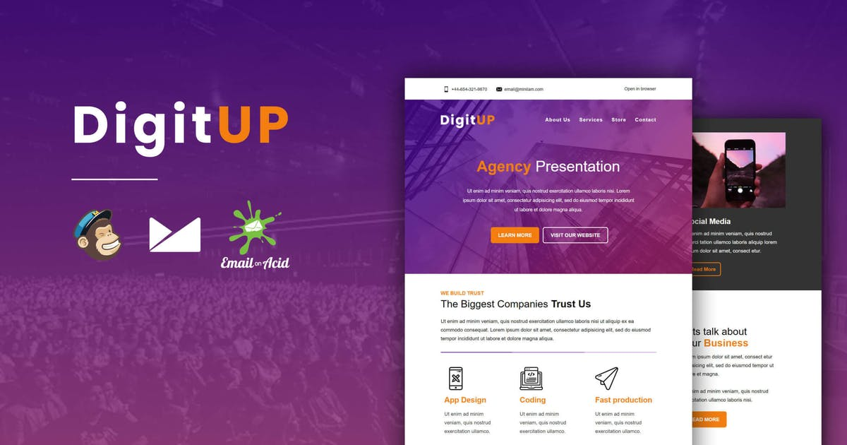 Download DigitUP - Responsive Email Template for Startups by Psd2Newsletters