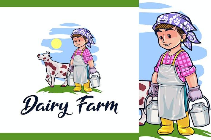 Thumbnail for Cartoon Dairy Farm & Livestock Logo