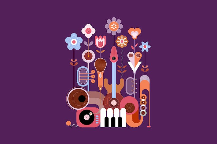 Thumbnail for 4 options of Flowers and Musical Instruments
