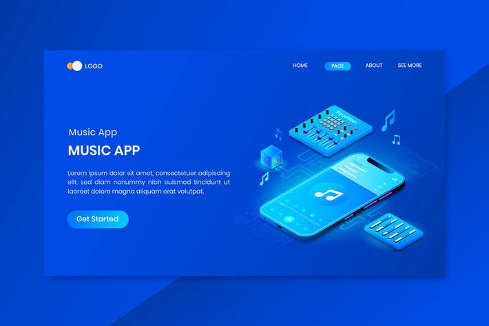 Thumbnail for Music App Design Isometric Concept Landing Page