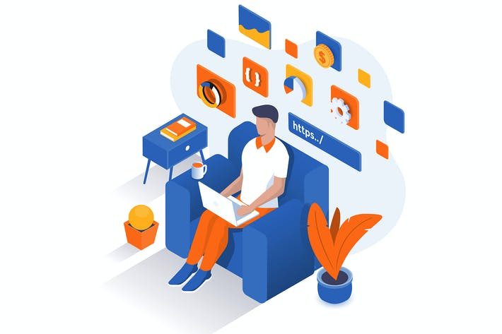 Modern Isometric Illustration - Work From Home