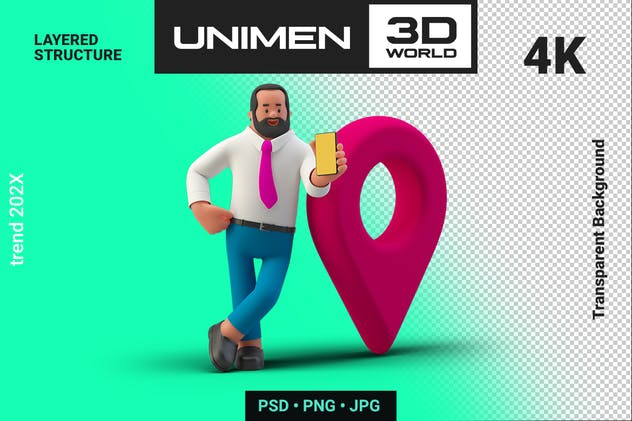 Happy Businessman with Geo Point 3D Illustration