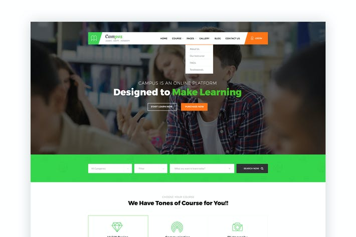 Thumbnail for Campus - Education, Course & Learning PSD Template