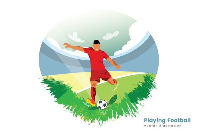 Thumbnail for Playing Football Vector Illustration