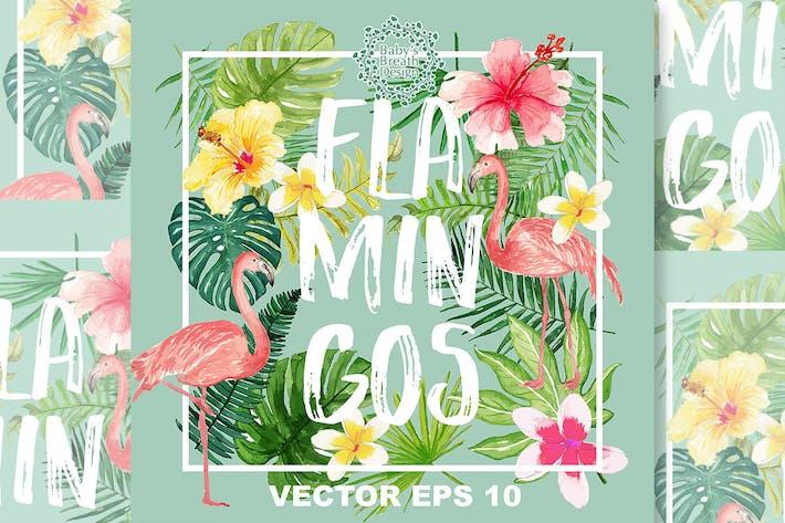 Thumbnail for Flamingos design Vector
