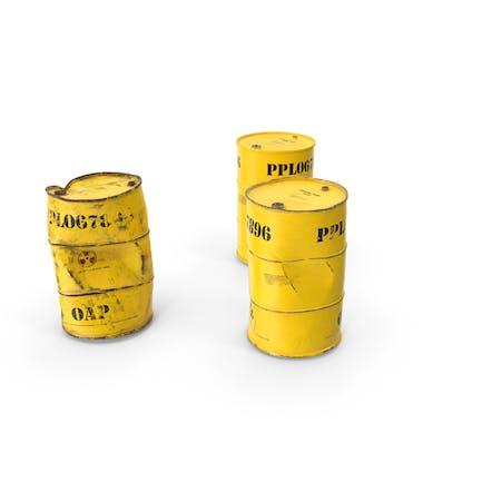 Conjunto de barriles de residuos radiactivos