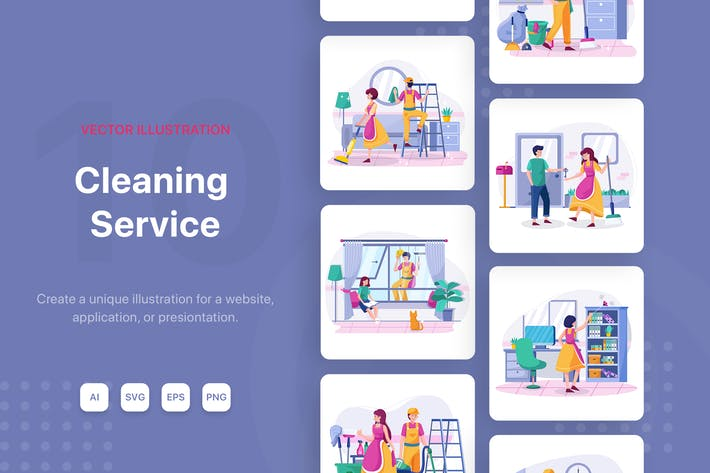 Thumbnail for Cleaning service Vector Illustrations