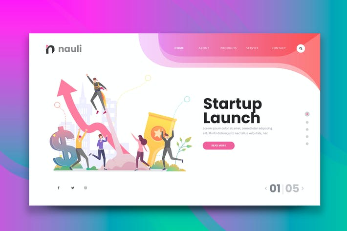 Thumbnail for Startup Launch Web PSD and AI Vector Template