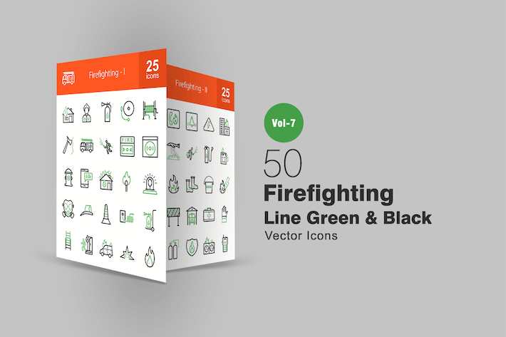 Thumbnail for 50 Firefighting Green & Black Line Icons