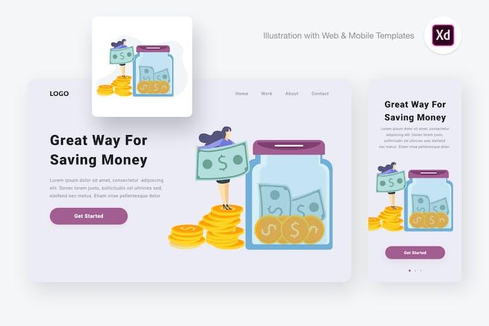 Thumbnail for Saving money illustration (Adobe XD & SVG)