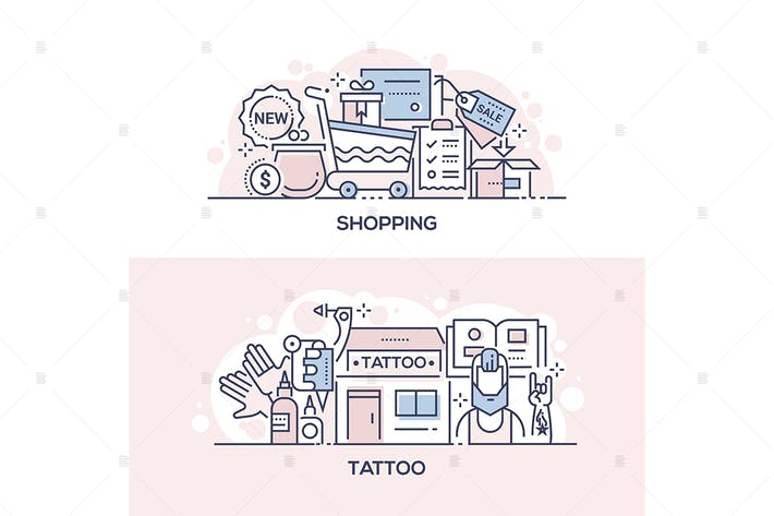 Thumbnail for Shopping event and tattoo parlor banners