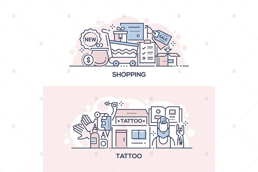 Shopping event and tattoo parlor banners
