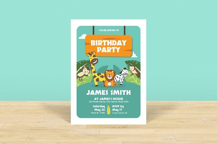 Thumbnail for Zoo Theme Kids Birthday Invitation