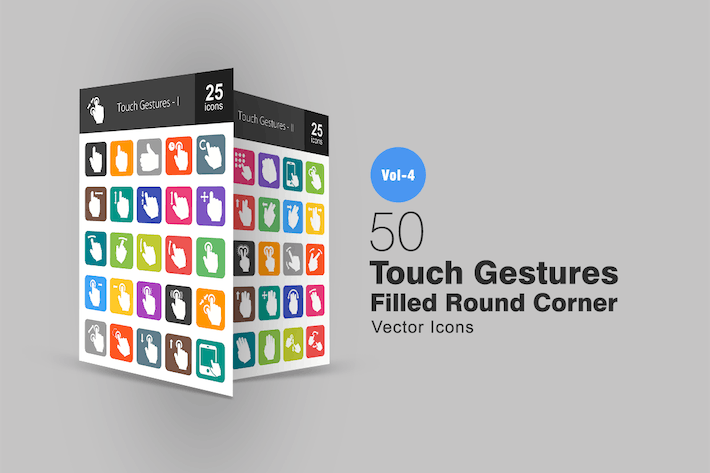 Thumbnail for 50 Touch Gestures Flat Round Corner Icons