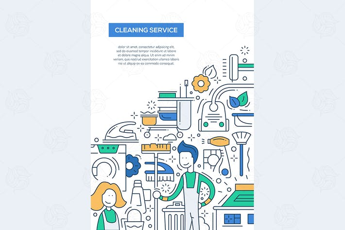 Thumbnail for Cleaning Service - line design brochure poster