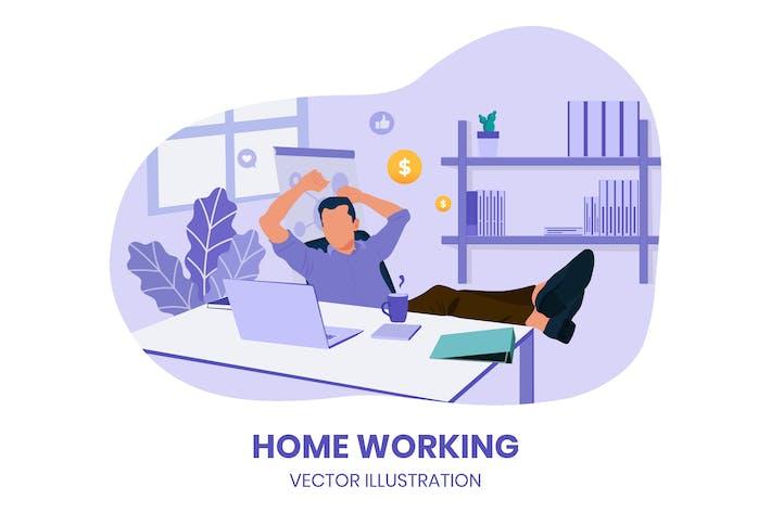 Home Working - Vektor Illustration