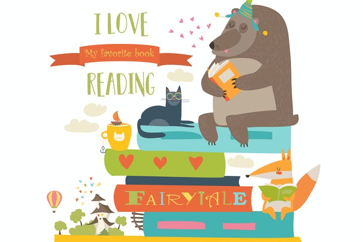 Thumbnail for Cute cartoon animals reading books. Vector
